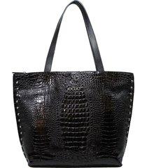 bolsa de couro recuo fashion bag tote croco preto