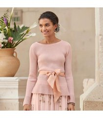 sundance catalog women's fontaine sashed pullover in pearlblush large