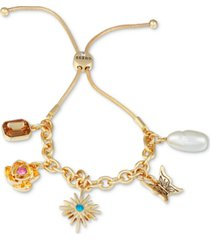 guess gold-tone stone & imitation pearl charm bolo bracelet