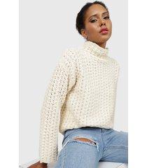sweater missguided honeycombe high neck jumper crema - calce regular