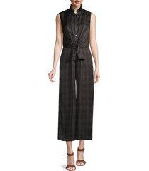 rebecca taylor women's jules sleeveless silk-blend jumpsuit - black combo - size 8