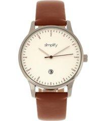 simplify quartz the 4300 silver case, genuine brown leather watch 42mm