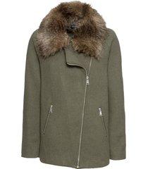 giacca con collo in eco pelliccia (verde) - bodyflirt