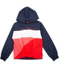 tommy hilfiger big girl color block tie-front hoodie with foil