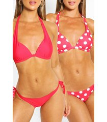 2 pack moulded push up plunge bikini, red