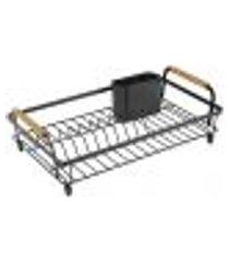 escorredor secador de louças 10 pratos talheres pia metalla yoi de aço carbono preto