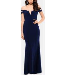 xscape cold-shoulder gown