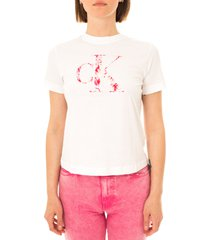 calvin klein t-shirt donna satin bonded filled ck tee j20j215605.yaf