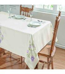 toalha de mesa dourados enxovais dalia 2,20x1,40 palha/lilas