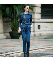 mono de mezclilla de manga larga azul para las mujeres cintura alta