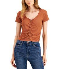 hippie rose juniors' ruched cardigan t-shirt