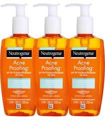 kit gel de limpeza neutrogena acne proofing 200ml  3 unidades