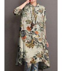 camicetta in cotone manica lunga con colletto alla coreana stampa floreale casual