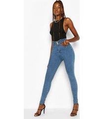 tall denim waist shaping skinny jeans, mid blue