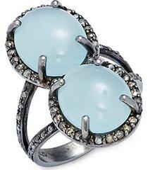 black rhodium-plated sterling silver, aquamarine & diamond ring