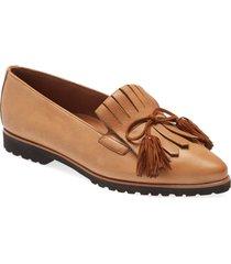 women's paul green diana kiltie fringe pointed toe loafer, size 6us - brown