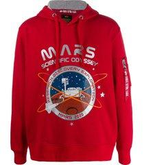 alpha industries zipped pocket mars print hoodie - red