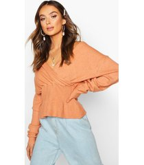 off shoulder fluffy knit top, rose