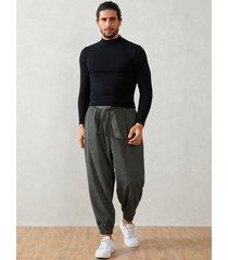hombre otoño corduroy pocket tapered tie cintura casual pantalones