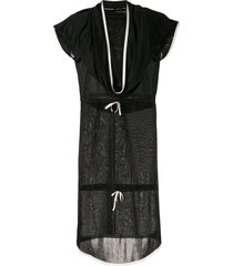 chanel pre-owned draped neck drawstring dress - black