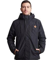 chaqueta chiporro con gorro impermeable negro sioux