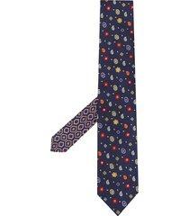 etro micro paisley silk tie - blue