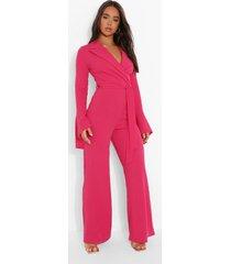 getailleerde wide leg jumpsuit met wijde mouwen, hot pink