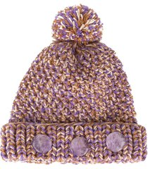 0711 pompom knit beanie - purple