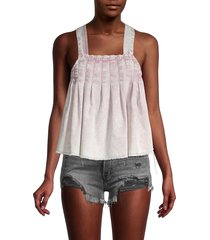 free people women's marina pleated denim strappy top - washed pink - size l