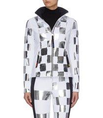 x jcc 'wari' metallic check soft shell ski jacket
