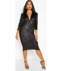 velvet croc ruched sleeve midi dress, black
