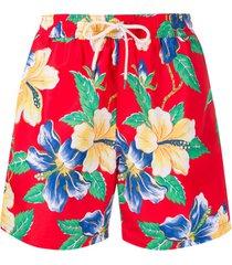 polo ralph lauren short de natação com estampa floral - vermelho