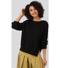 trendyol bike collar slit sweater - black