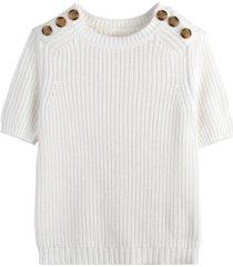 grovstickad tröja i bomull med kort ärm