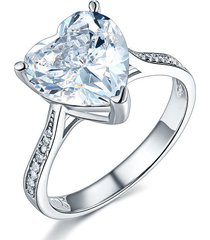 925 sterling silver promise engagement ring 3.5 ct love heart created diamond