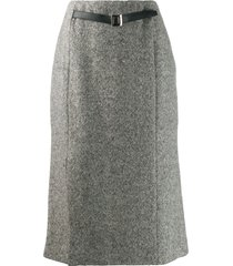burberry pre-owned 1990's belted midi skirt - black