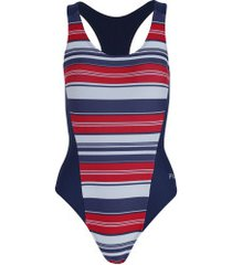 maiô para natação fila optical - adulto - vermelho/azul esc