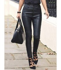 black high-waisted faux leather leggings
