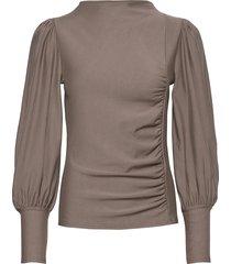 rifagz puff blouse blouse lange mouwen grijs gestuz