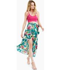 bar iii printed ruffled high-low wrap skirt, created for macy's