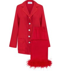 women's sleeper party pajamas with detachable ostrich feather trim, size small - red