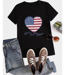 bandera americana corazón corazón camiseta estampada de mangas cortas