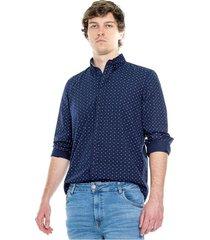camisa manga larga estampado mini print con contrastes de tela en banda y puño color blue