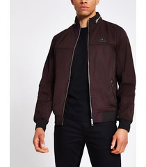 river island mens mcmlx dark red nylon racer jacket