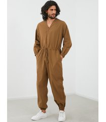 mono de manga larga con cuello en v y cintura con cordón para hombre