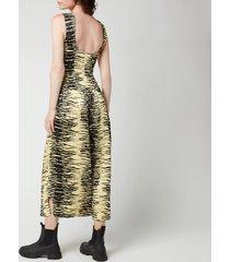 ganni women's crinkled satin dress - pale banana - eu36/uk8