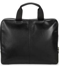 j. lindeberg men's zip-around leather briefcase - black
