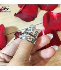 0.42ct diamond his & her trio set matching white gold fn.wedding engagement ring