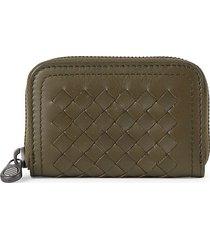 bottega veneta men's intrecciato leather mini wallet - moss