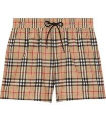 burberry vintage check drawcord swim shorts - neutrals